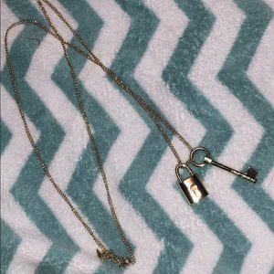 Victoria's Secret gold lock and key necklace